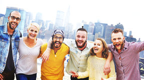 Friends Friendship Huddle Vacations Happiness Concept Stock Photos
