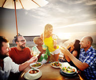Friends Friendship Outdoor Dining Beach Concept Royalty Free Stock Photography