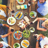 Friends Friendship Outdoor Dining Hanging out Concept.  royalty free stock image