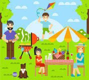 Friends friendship outdoor family dining people together happy fun concept vector illustration. Royalty Free Stock Photography