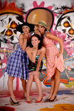 Friends fun graffiti wall royalty free stock photos