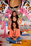 Friends fun graffiti wall Royalty Free Stock Image