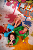 Friends fun graffiti wall Stock Photos
