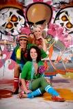 Friends fun graffiti wall Stock Photography