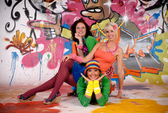 Friends fun graffiti wall Royalty Free Stock Photos