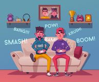 Friends is gaming. Gamers playing video game. Cartoon vector illustration royalty free illustration