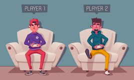 Friends is gaming. Gamers playing video game. Cartoon vector illustration. Friends is gaming. Nerds room interior. Gamers playing video game. Cartoon vector royalty free illustration