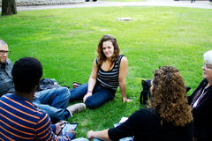 Friends gathered on the grass Royalty Free Stock Photo