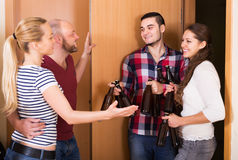 Friends gathering together at party Royalty Free Stock Photo