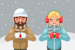 Friends geek hipster couple winter hot drink tea coffee young man cup flat design vector illustration. Friends geek hipster couple winter hot drink coffee tea stock illustration