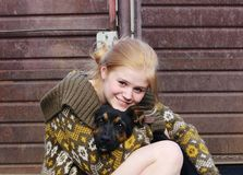 Friends...girl and dog Royalty Free Stock Photo