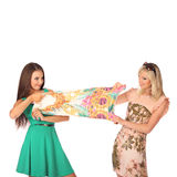 Friends give pieces of advice to each other concerning the clothes. Studio Stock Photo