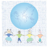Friends and globe. Illustration, vector art Stock Images