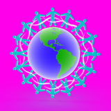 Friends on the globe, 3D Stock Images