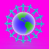 Friends on the globe, 3D Royalty Free Stock Image