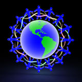 Friends on the globe, 3D Royalty Free Stock Photography