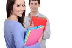 Friends going to class Stock Photo