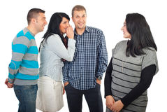 Friends gossip. Three people gossip and laughing in background about their friend isolated on white background royalty free stock photos
