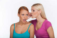 Friends gossiping. Two beautiful young women gossiping while sta Royalty Free Stock Photos