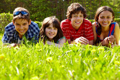 Friends on grass Stock Photography