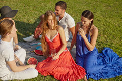 Friends on the grass. Picnic party friendly young people on the grass in the park in personal interaction Royalty Free Stock Photo