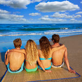Friends group couples sitting in beach sand rear Royalty Free Stock Photos