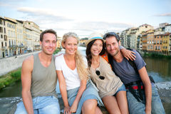Friends - group of people on travel vacation. Having fun together. Two couples traveling in Florence, Tuscany, Italy, Europe Stock Photos