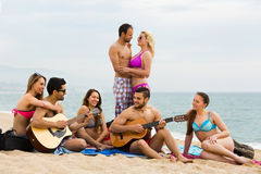 Friends with guitar at beach Royalty Free Stock Photos