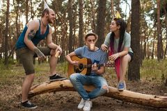 Friends guitar song picnic party nature concept. Royalty Free Stock Image