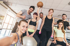Friends in a gym Royalty Free Stock Images