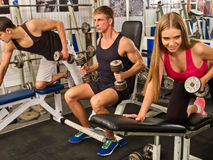Friends in gym workout with fitness equipment. Training men. stock image