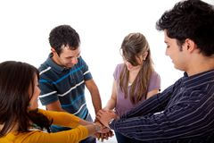 Friends with hands together Royalty Free Stock Photos