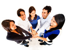 Friends with hands together Stock Photo