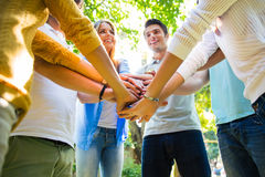 Friends hands together Royalty Free Stock Photos