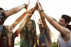 Friends Hands Together Unity at Festival Event Stock Image