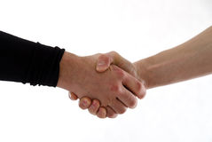 Friends handshake. Handshake of two men\'s. One of them is wearing sports thermoactiv blouse Royalty Free Stock Images