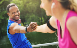 Friends Handshake Active Running Outdoors Concept Royalty Free Stock Photos