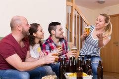 Friends hanging out with beer Stock Photos
