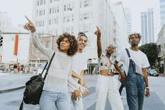 Friends hanging out in downtown LA royalty free stock image