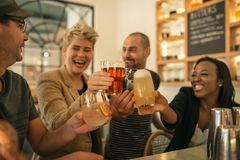 Friends hanging out together in a bar cheering with drinks. Diverse group of young friends hanging out together in a trendy bar laughing and cheering together royalty free stock photography