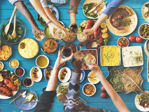 Friends Happiness Enjoying Dinning Eating Concept Royalty Free Stock Images