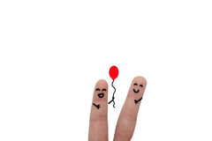 Friends have fun with a balloon Royalty Free Stock Photo