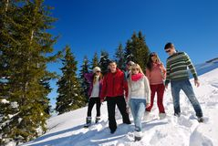 Friends have fun at winter on fresh snow Stock Images