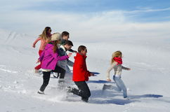 Friends have fun at winter on fresh snow Stock Photography