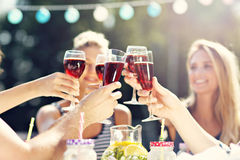 Friends having barbecue party in backyard. Picture showing group of friends having barbecue party in backyard Stock Image