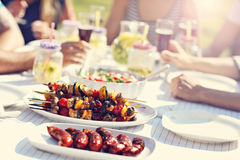 Friends having barbecue party in backyard. Picture showing group of friends having barbecue party in backyard royalty free stock images