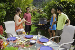 Friends having a barbecue party Stock Image
