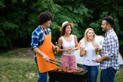 Friends having a barbecue party in nature while having fun stock photo