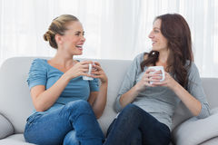 Friends having coffee and looking at each other Stock Images