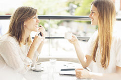 Friends having coffee and talking Stock Image